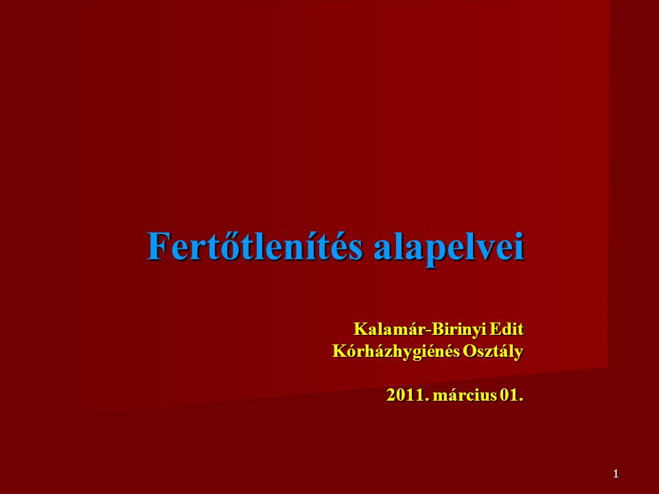 1 Fertőtlenítés alapelvei Kalamár-Birinyi Edit Kórházhygiénés Osztály 2011. március 01.