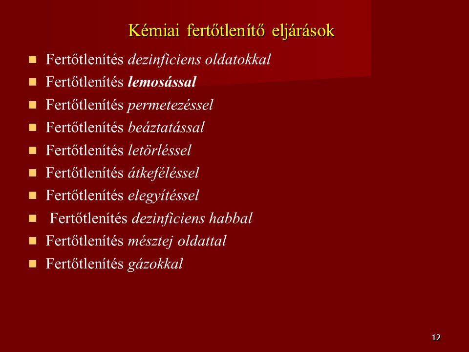 12 Kémiai fertőtlenítő eljárások   Fertőtlenítés dezinficiens oldatokkal   Fertőtlenítés lemosással   Fertőtlenítés permetezéssel   Fertőtlení