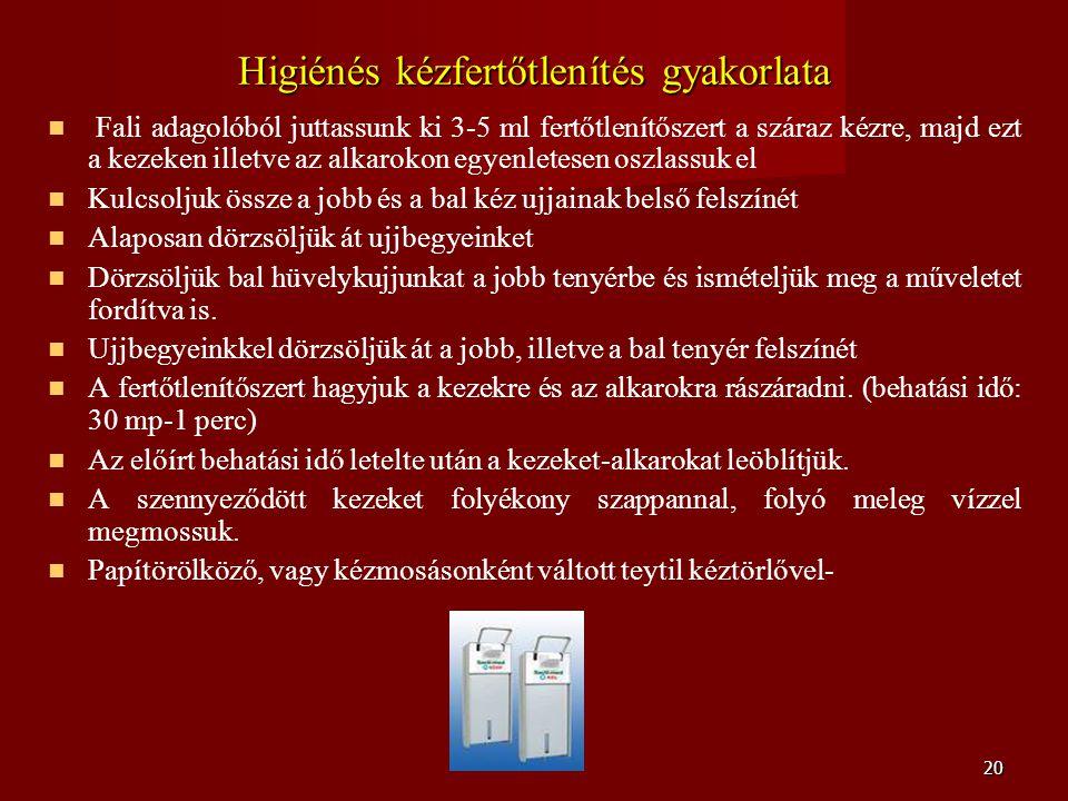 20 Higiénés kézfertőtlenítés gyakorlata   Fali adagolóból juttassunk ki 3-5 ml fertőtlenítőszert a száraz kézre, majd ezt a kezeken illetve az alkar