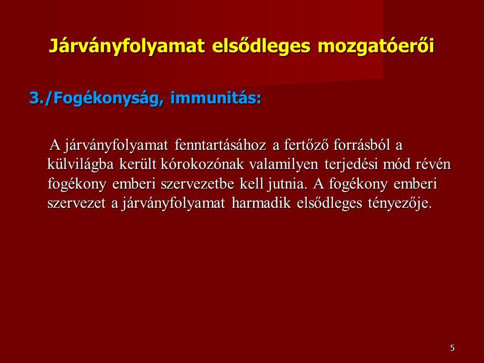 5 Járványfolyamat elsődleges mozgatóerői 3./Fogékonyság, immunitás: A járványfolyamat fenntartásához a fertőző forrásból a külvilágba került kórokozón