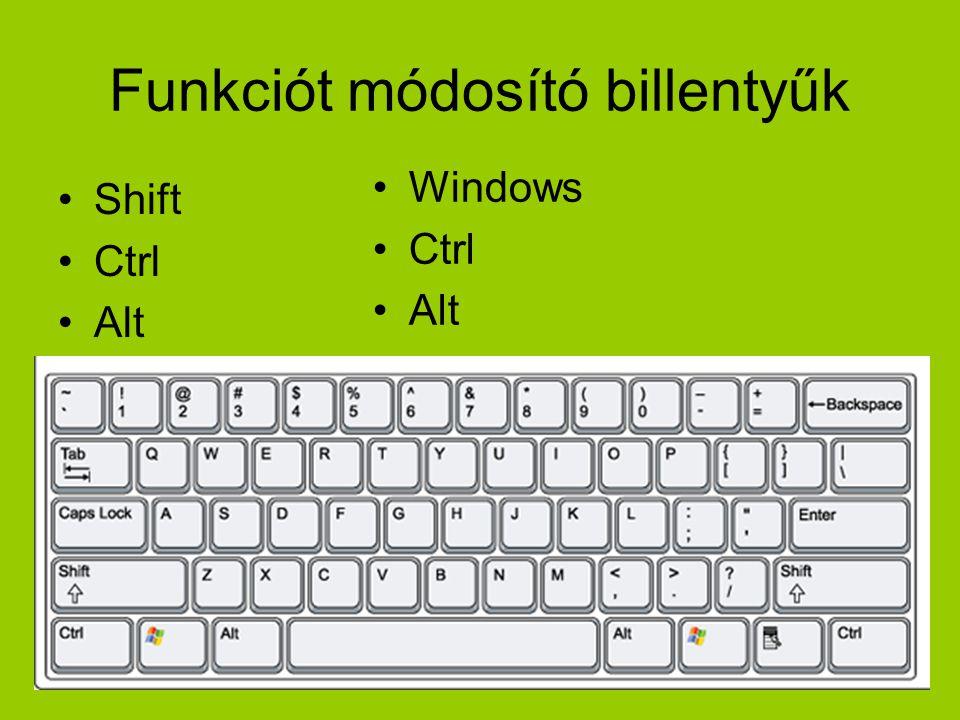 Funkciót módosító billentyűk •Shift •Ctrl •Alt •Windows •Ctrl •Alt