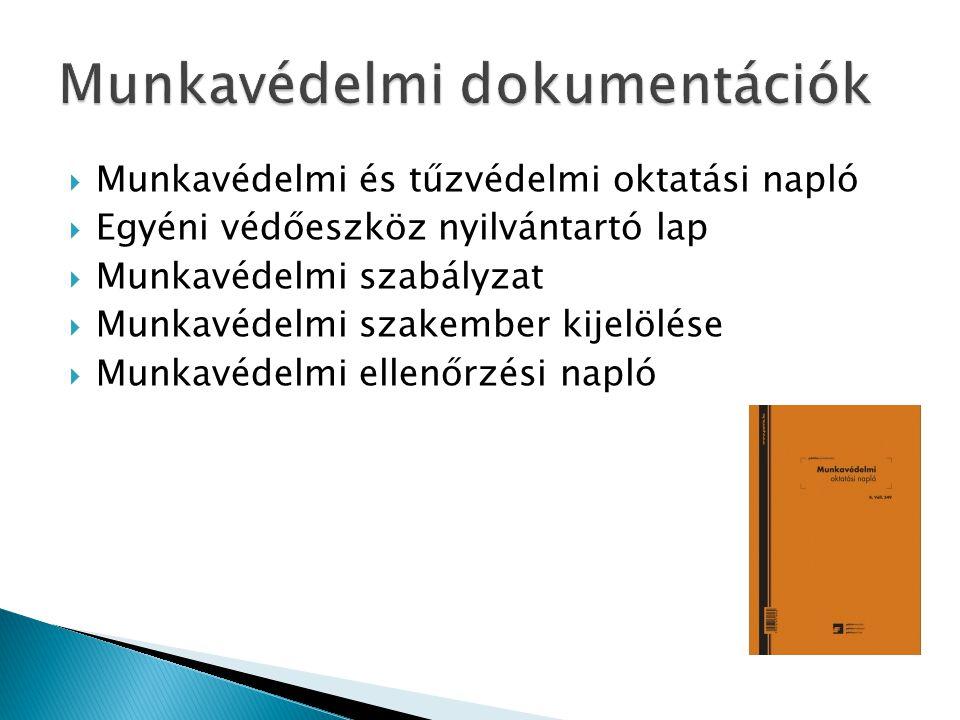  Munkavédelmi és tűzvédelmi oktatási napló  Egyéni védőeszköz nyilvántartó lap  Munkavédelmi szabályzat  Munkavédelmi szakember kijelölése  Munka