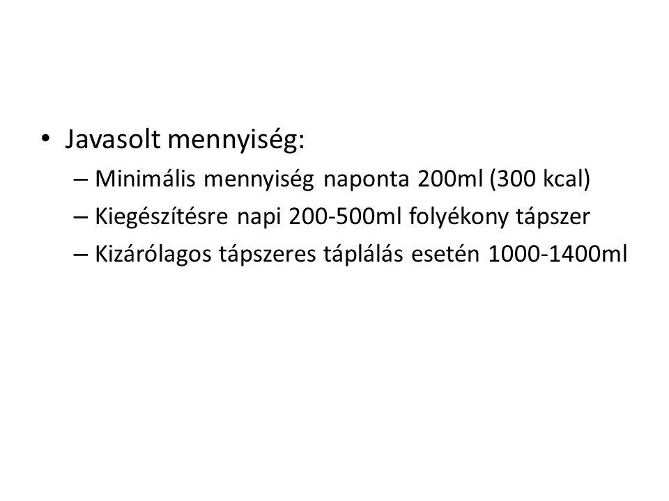• Javasolt mennyiség: – Minimális mennyiség naponta 200ml (300 kcal) – Kiegészítésre napi 200-500ml folyékony tápszer – Kizárólagos tápszeres táplálás