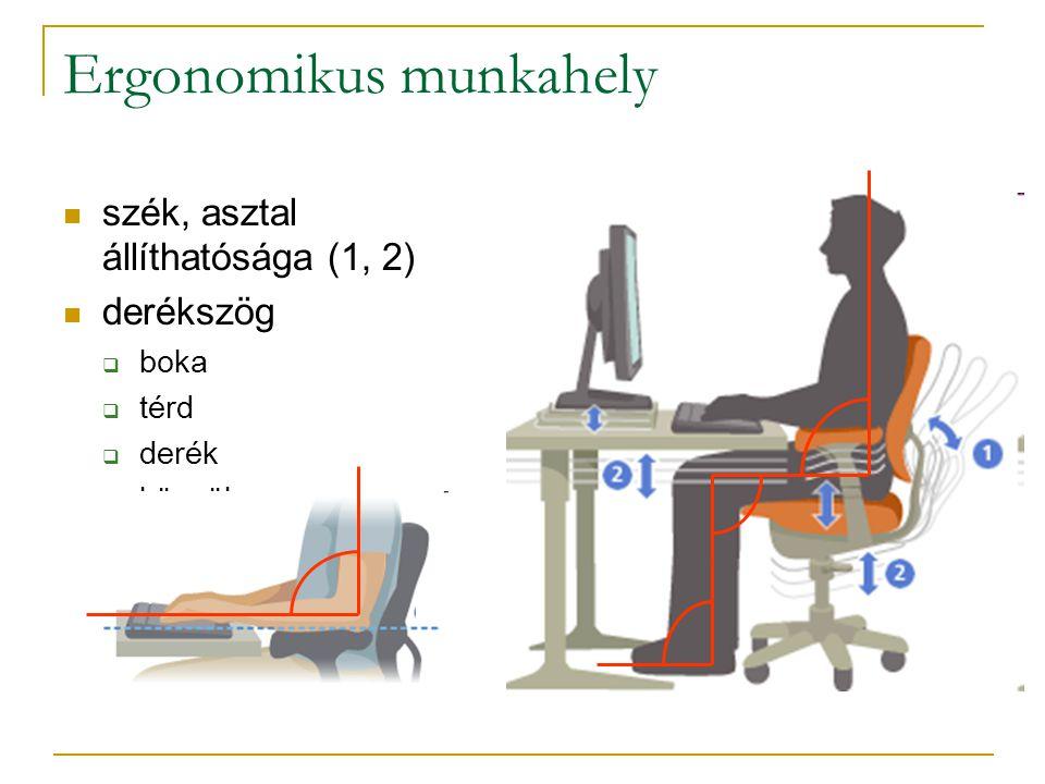 Ergonomikus munkahely  szék, asztal állíthatósága (1, 2)  derékszög  boka  térd  derék  könyök