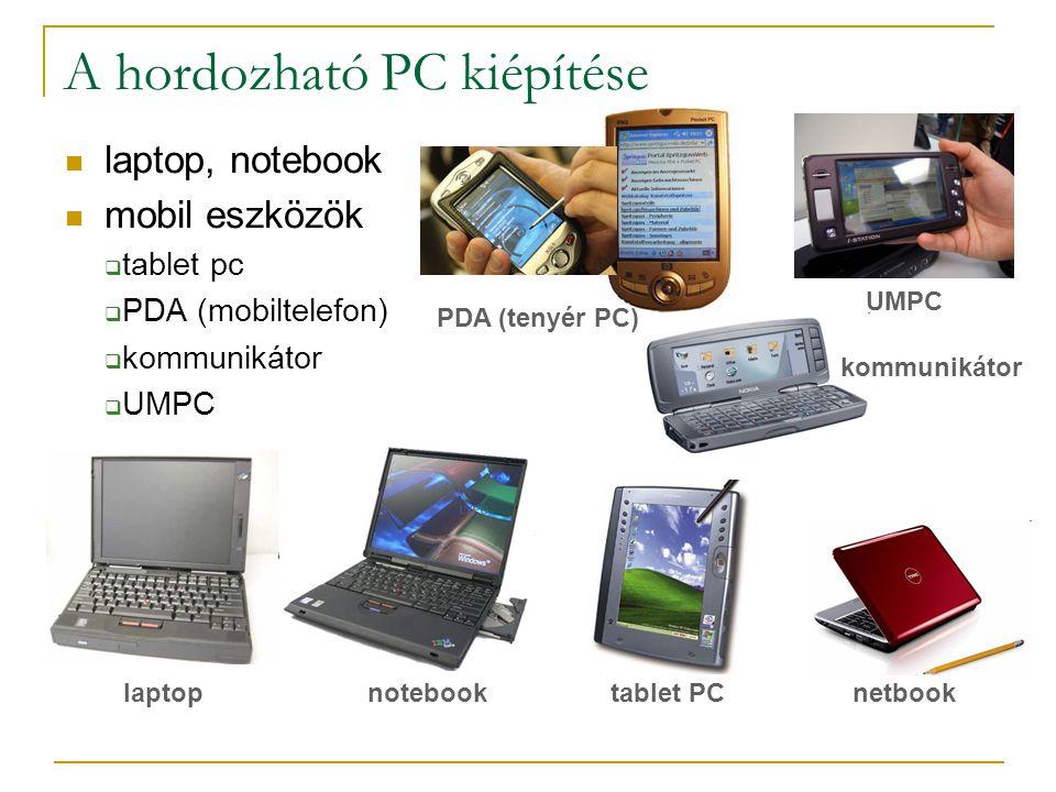  laptop, notebook  mobil eszközök  tablet pc  PDA (mobiltelefon)  kommunikátor  UMPC A hordozható PC kiépítése laptop PDA (tenyér PC) netbooknotebook UMPC tablet PC kommunikátor