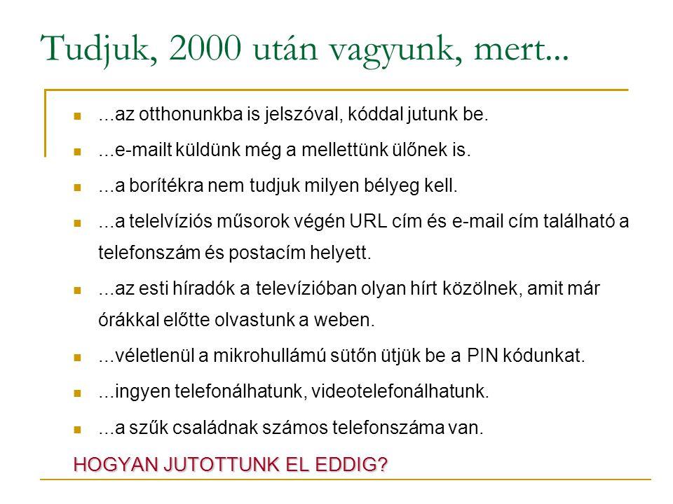 Tudjuk, 2000 után vagyunk, mert......az otthonunkba is jelszóval, kóddal jutunk be.