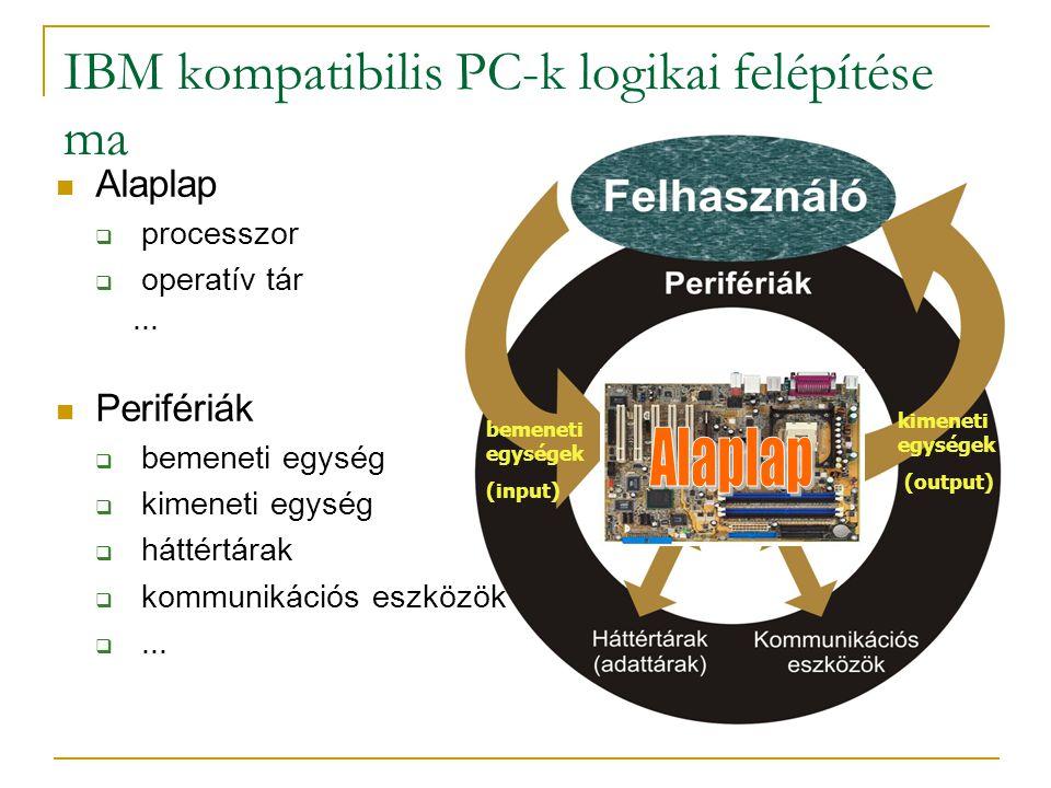 IBM kompatibilis PC-k logikai felépítése ma  Alaplap  processzor  operatív tár...