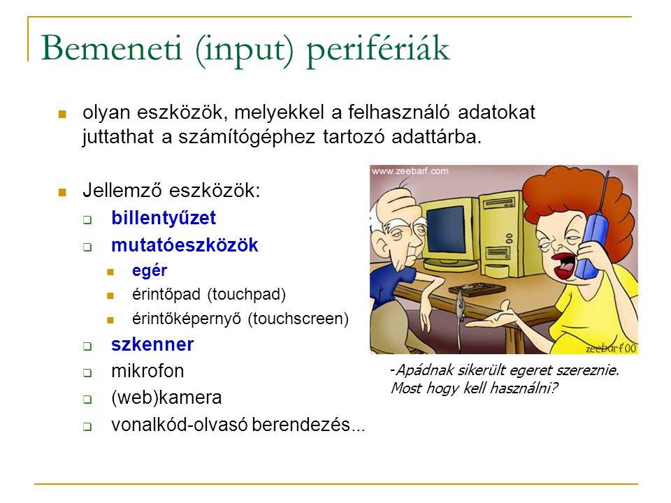 Bemeneti (input) perifériák  olyan eszközök, melyekkel a felhasználó adatokat juttathat a számítógéphez tartozó adattárba.