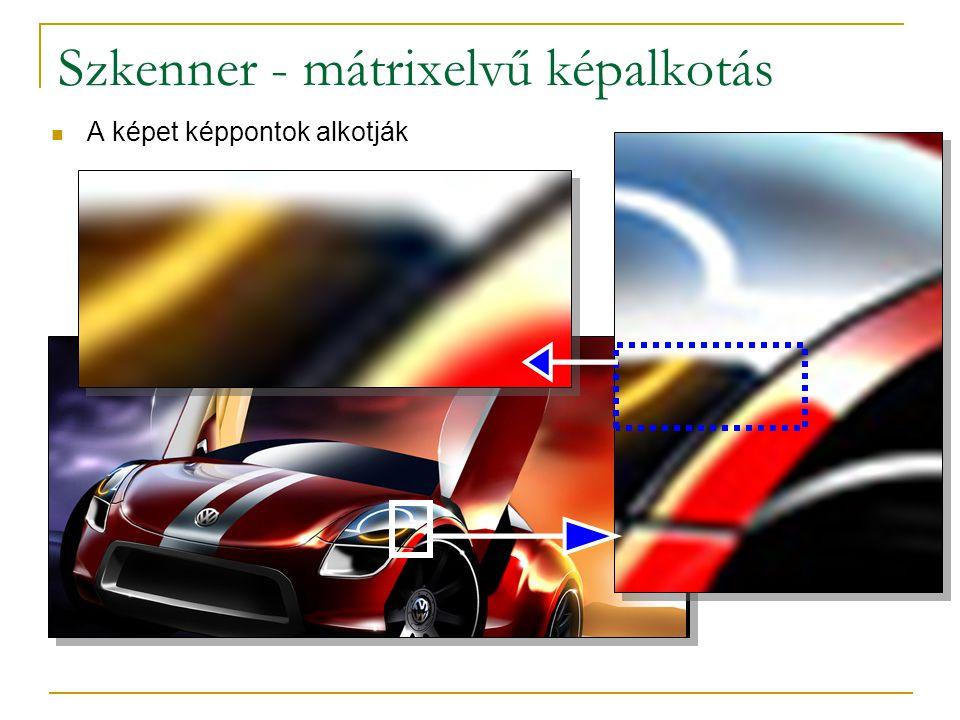 Szkenner - mátrixelvű képalkotás  A képet képpontok alkotják