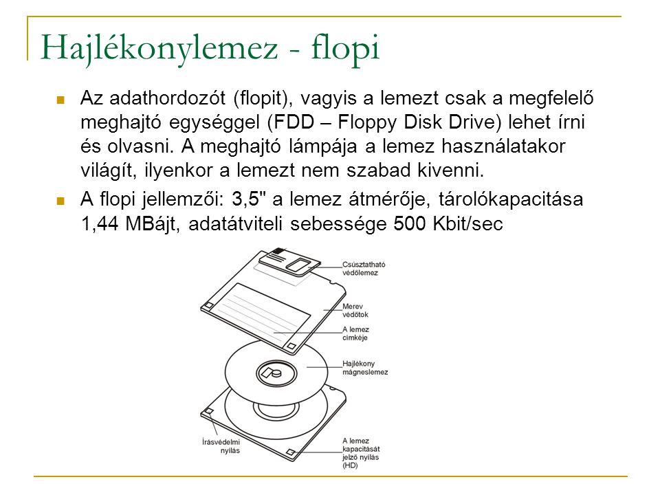 Hajlékonylemez - flopi  Az adathordozót (flopit), vagyis a lemezt csak a megfelelő meghajtó egységgel (FDD – Floppy Disk Drive) lehet írni és olvasni.