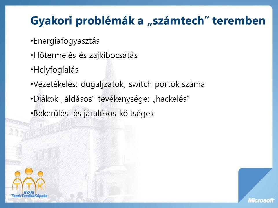 """Gyakori problémák a """"számtech"""" teremben • Energiafogyasztás • Hőtermelés és zajkibocsátás • Helyfoglalás • Vezetékelés: dugaljzatok, switch portok szá"""