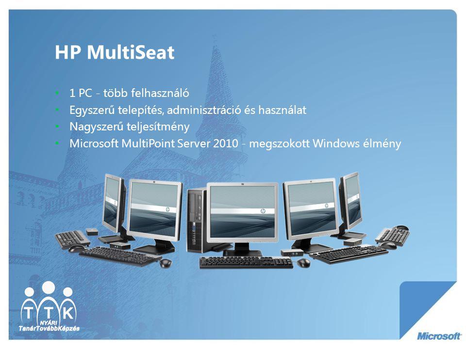 HP MultiSeat összetevők • HP Compaq ms6000 Desktop gazda PC • Microsoft Windows MultiPoint Server 2010 (magyar nyelvű felület) • Akár 8db HP t100 vékony kliens csatlakoztatható USB- n keresztül • 17 -18,5 -19 HP TFT • PS/2 billentyűzet és egér • Opcionális kiegészítők: •Mosható egér és billentyűzet •Kensington zár