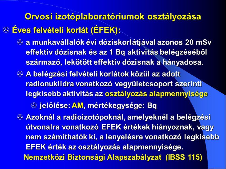  Éves felvételi korlát (ÉFEK):  a munkavállalók évi dóziskorlátjával azonos 20 mSv effektív dózisnak és az 1 Bq aktivitás belégzéséből származó, lek