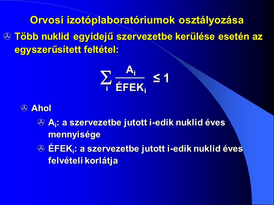  Több nuklid egyidejű szervezetbe kerülése esetén az egyszerűsített feltétel:  Ahol  A i : a szervezetbe jutott i-edik nuklid éves mennyisége  ÉFE