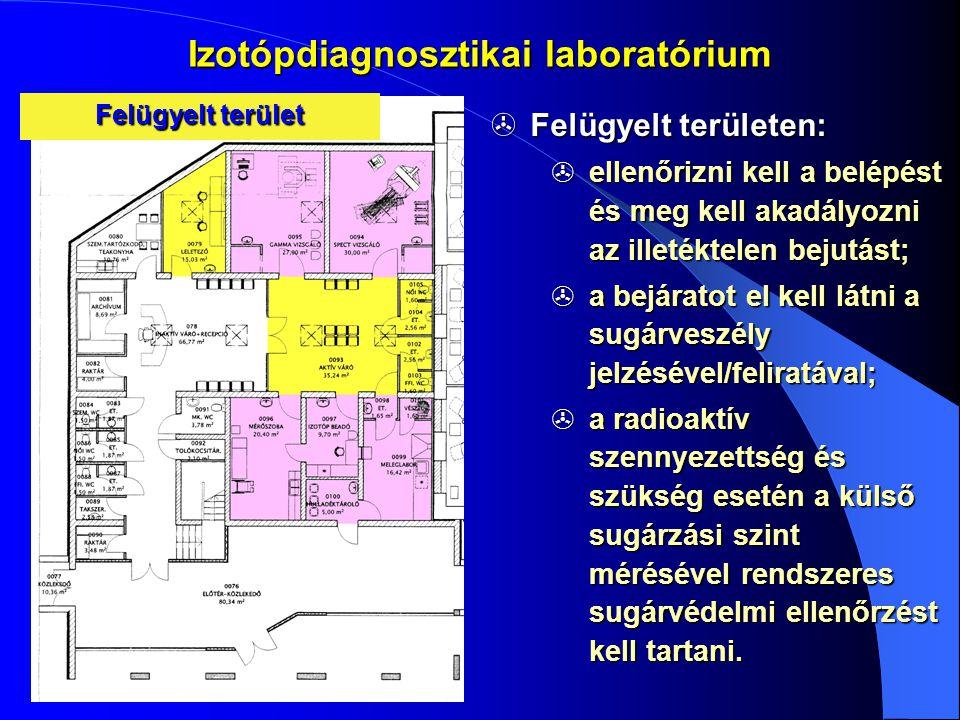 Izotópdiagnosztikai laboratórium  Felügyelt területen:  ellenőrizni kell a belépést és meg kell akadályozni az illetéktelen bejutást;  a bejáratot