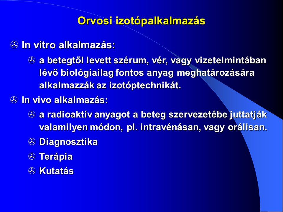  In vitro alkalmazás:  a betegtől levett szérum, vér, vagy vizetelmintában lévő biológiailag fontos anyag meghatározására alkalmazzák az izotóptechn