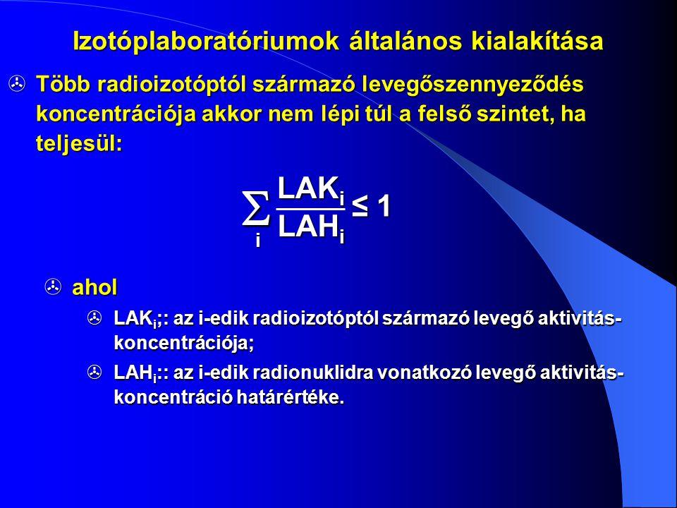 Izotóplaboratóriumok általános kialakítása  Több radioizotóptól származó levegőszennyeződés koncentrációja akkor nem lépi túl a felső szintet, ha tel