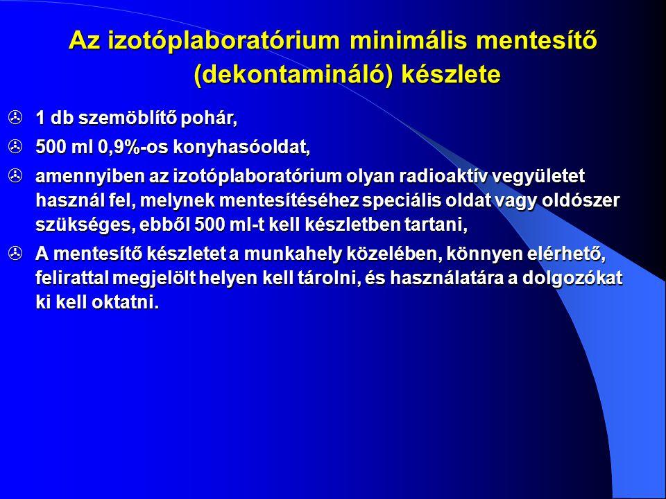 1 db szemöblítő pohár,  500 ml 0,9%-os konyhasóoldat,  amennyiben az izotóplaboratórium olyan radioaktív vegyületet használ fel, melynek mentesíté