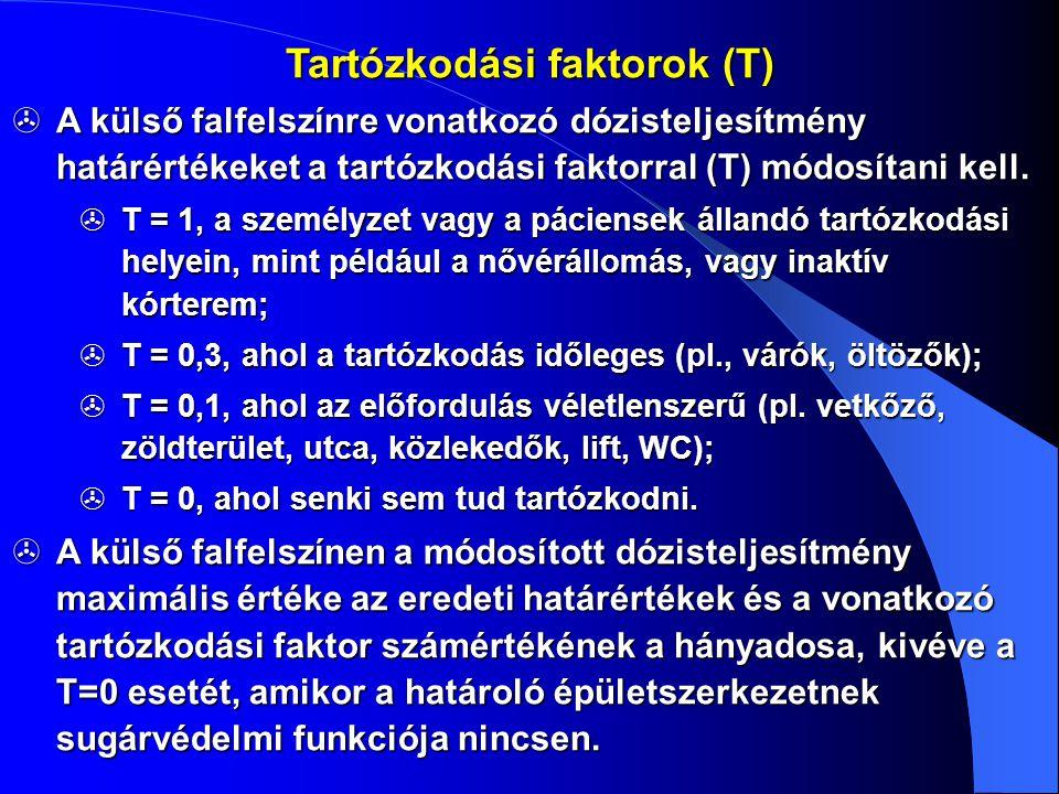  A külső falfelszínre vonatkozó dózisteljesítmény határértékeket a tartózkodási faktorral (T) módosítani kell.  T = 1, a személyzet vagy a páciensek