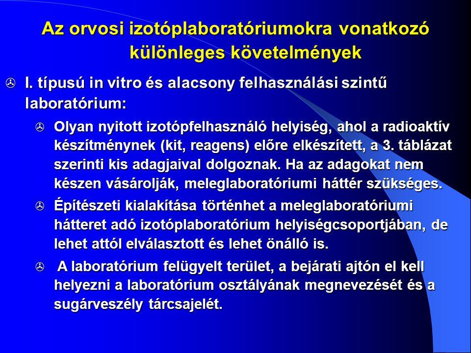  I. típusú in vitro és alacsony felhasználási szintű laboratórium:  Olyan nyitott izotópfelhasználó helyiség, ahol a radioaktív készítménynek (kit,