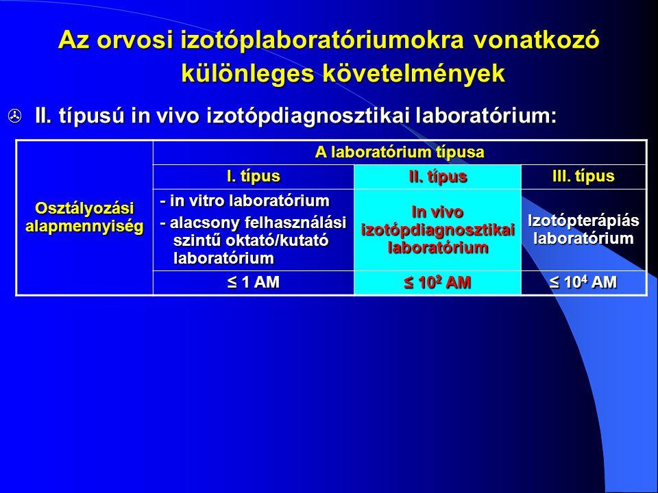  II. típusú in vivo izotópdiagnosztikai laboratórium: Az orvosi izotóplaboratóriumokra vonatkozó különleges követelmények Osztályozási alapmennyiség