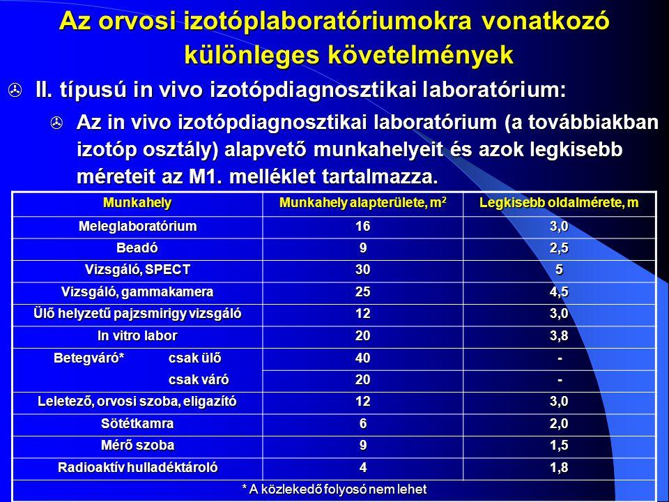  II. típusú in vivo izotópdiagnosztikai laboratórium:  Az in vivo izotópdiagnosztikai laboratórium (a továbbiakban izotóp osztály) alapvető munkahel