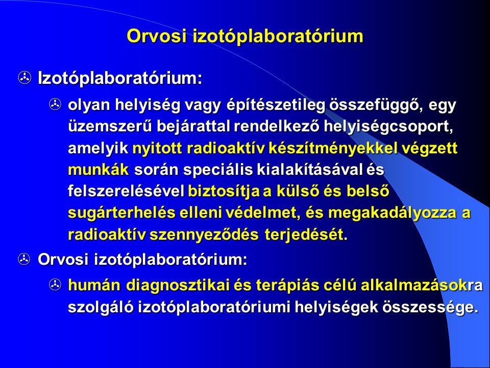  Izotópterápiás laboratórium:  131 I terápia A > 550 MBq aktív kórtermet kell létesíteni.