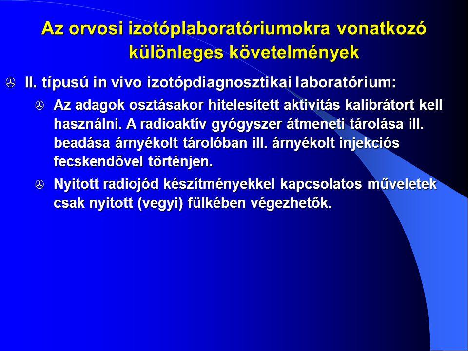  II. típusú in vivo izotópdiagnosztikai laboratórium:  Az adagok osztásakor hitelesített aktivitás kalibrátort kell használni. A radioaktív gyógysze