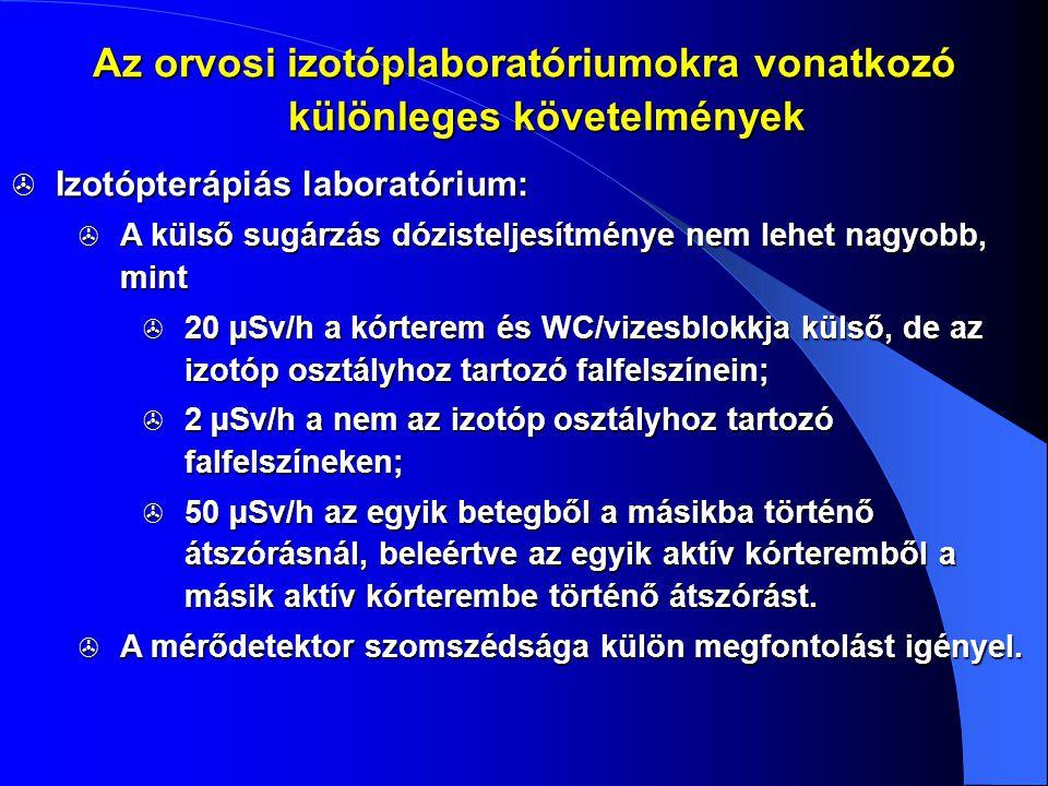  Izotópterápiás laboratórium:  A külső sugárzás dózisteljesítménye nem lehet nagyobb, mint  20 µSv/h a kórterem és WC/vizesblokkja külső, de az izo