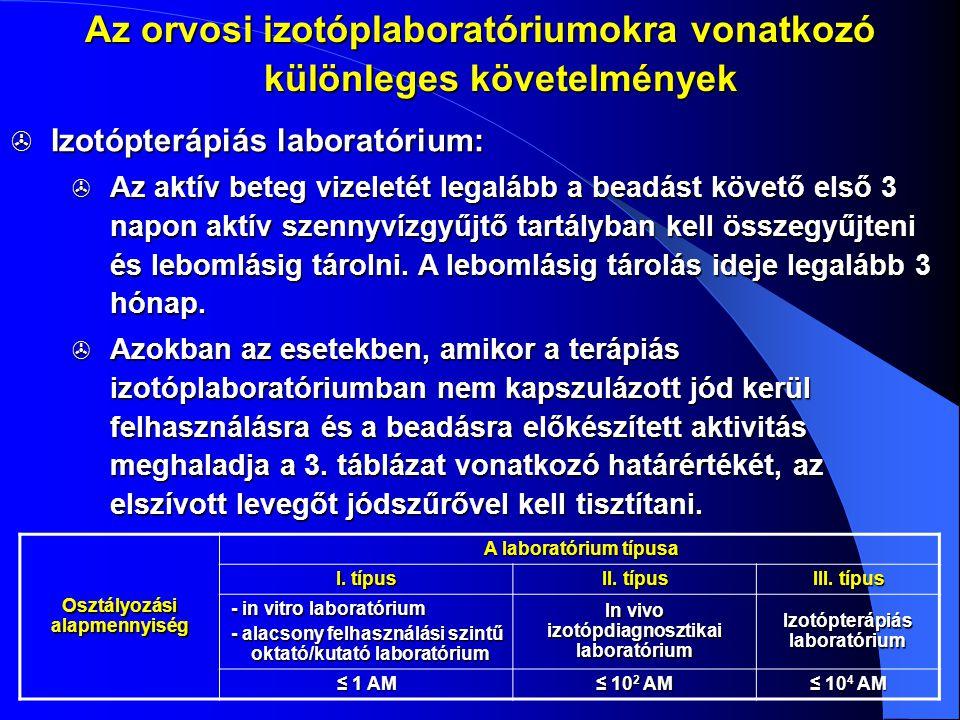  Izotópterápiás laboratórium:  Az aktív beteg vizeletét legalább a beadást követő első 3 napon aktív szennyvízgyűjtő tartályban kell összegyűjteni é
