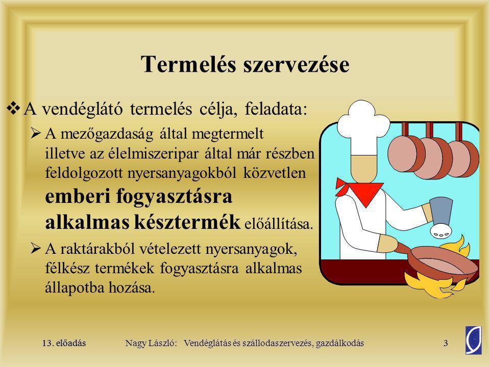 13. előadás3Nagy László: Vendéglátás és szállodaszervezés, gazdálkodás13. előadás3 Termelés szervezése  A vendéglátó termelés célja, feladata:  A me