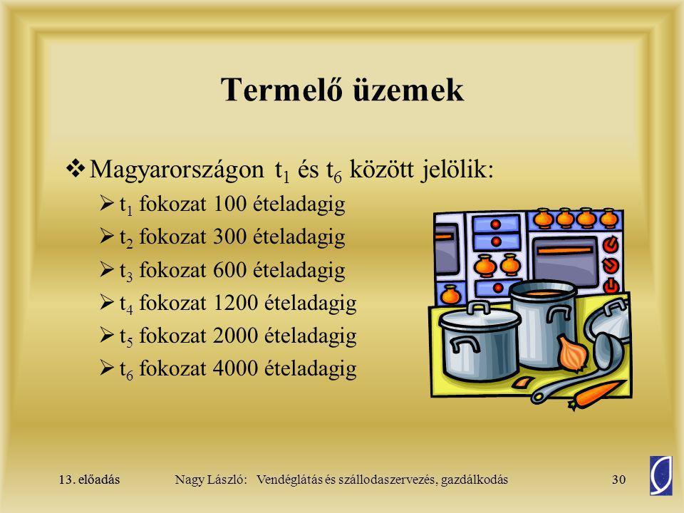 13. előadás30Nagy László: Vendéglátás és szállodaszervezés, gazdálkodás13. előadás30 Termelő üzemek  Magyarországon t 1 és t 6 között jelölik:  t 1