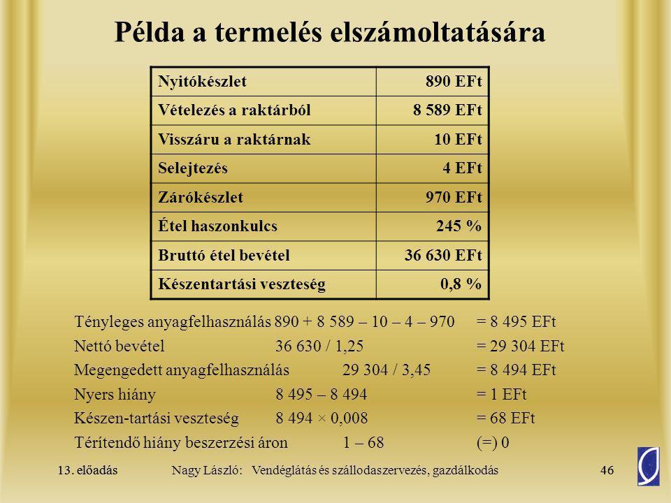 13. előadás46Nagy László: Vendéglátás és szállodaszervezés, gazdálkodás13. előadás46 Példa a termelés elszámoltatására Tényleges anyagfelhasználás 890