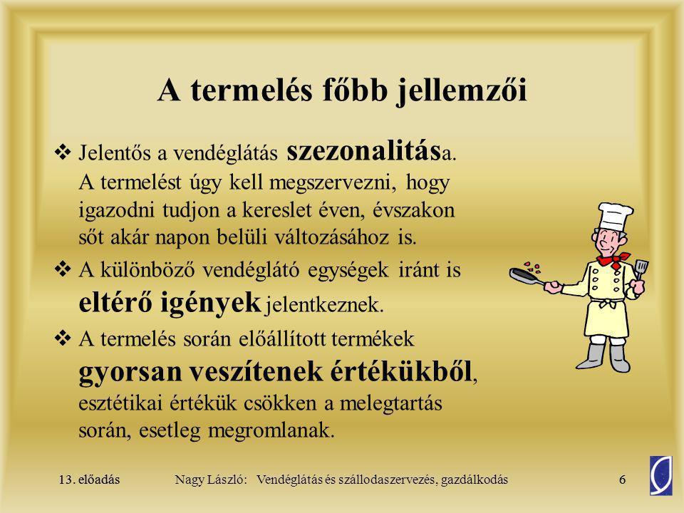 13.előadás37Nagy László: Vendéglátás és szállodaszervezés, gazdálkodás13.