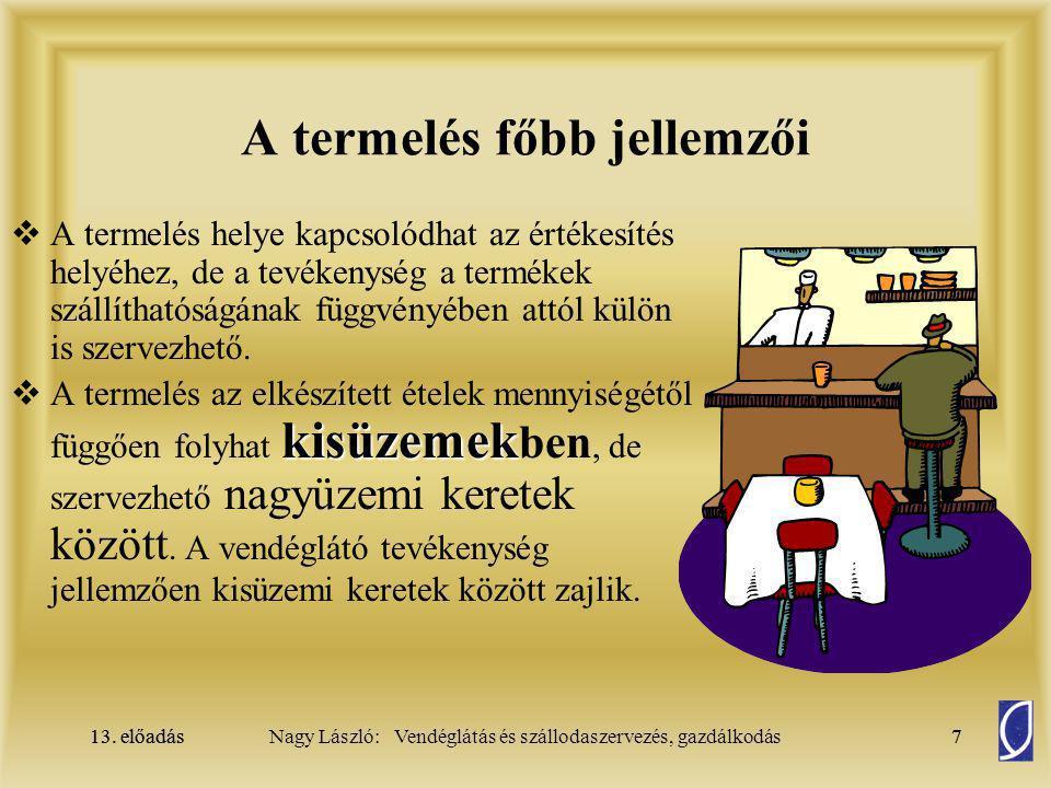 13.előadás38Nagy László: Vendéglátás és szállodaszervezés, gazdálkodás13.