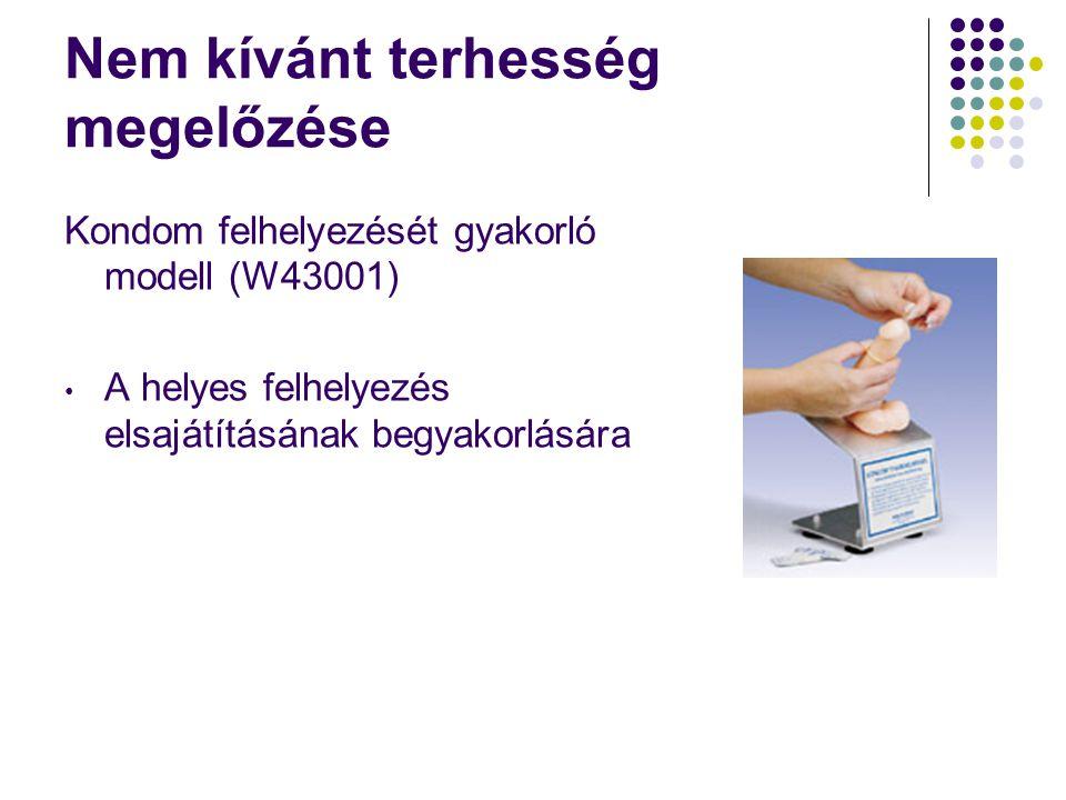 Nem kívánt terhesség megelőzése Kondom felhelyezését gyakorló modell (W43001) • A helyes felhelyezés elsajátításának begyakorlására