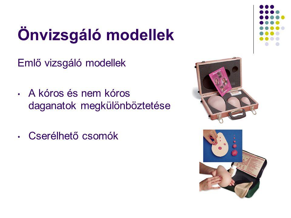 Önvizsgáló modellek Emlő vizsgáló modellek • A kóros és nem kóros daganatok megkülönböztetése • Cserélhető csomók