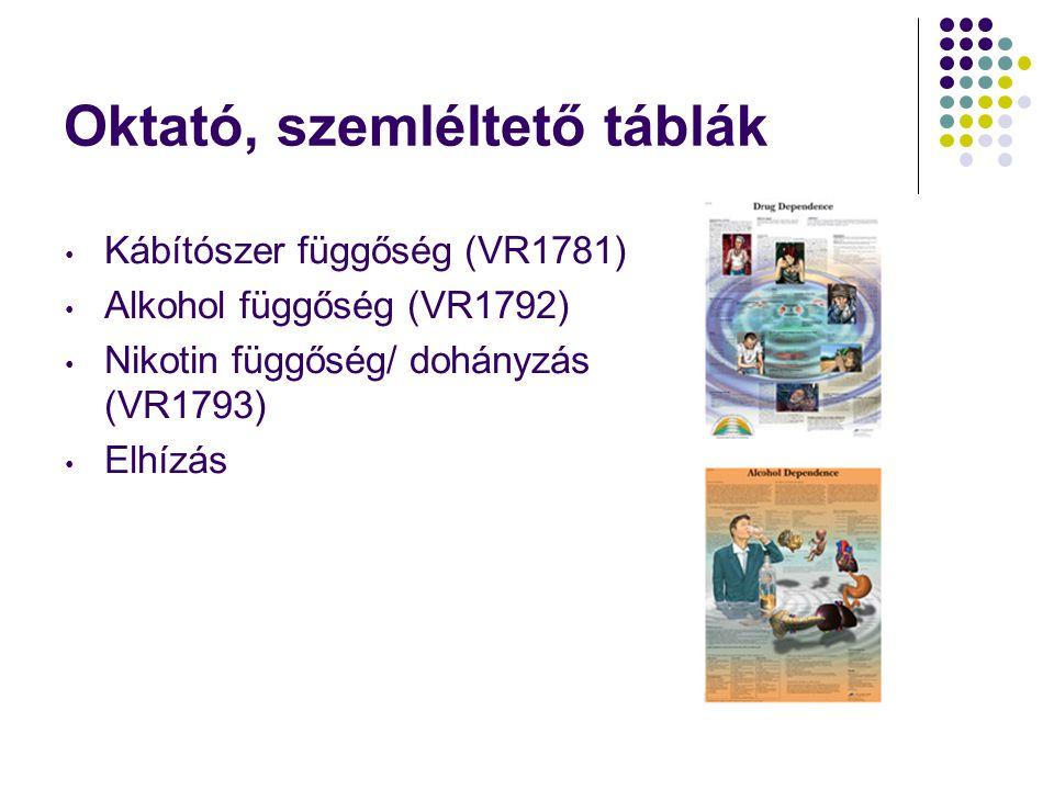 Oktató, szemléltető táblák • Kábítószer függőség (VR1781) • Alkohol függőség (VR1792) • Nikotin függőség/ dohányzás (VR1793) • Elhízás