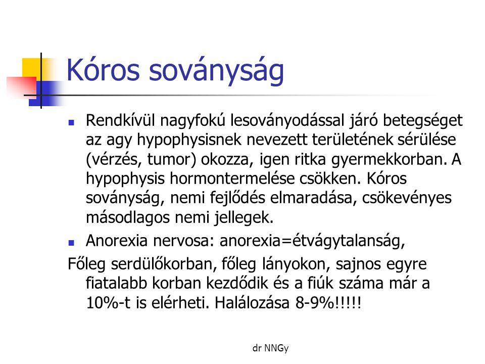 Kóros soványság  Rendkívül nagyfokú lesoványodással járó betegséget az agy hypophysisnek nevezett területének sérülése (vérzés, tumor) okozza, igen r