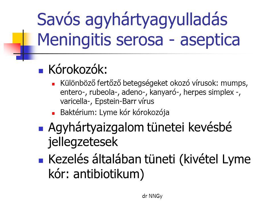 Savós agyhártyagyulladás Meningitis serosa - aseptica  Kórokozók:  Különböző fertőző betegségeket okozó vírusok: mumps, entero-, rubeola-, adeno-, kanyaró-, herpes simplex -, varicella-, Epstein-Barr vírus  Baktérium: Lyme kór kórokozója  Agyhártyaizgalom tünetei kevésbé jellegzetesek  Kezelés általában tüneti (kivétel Lyme kór: antibiotikum) dr NNGy