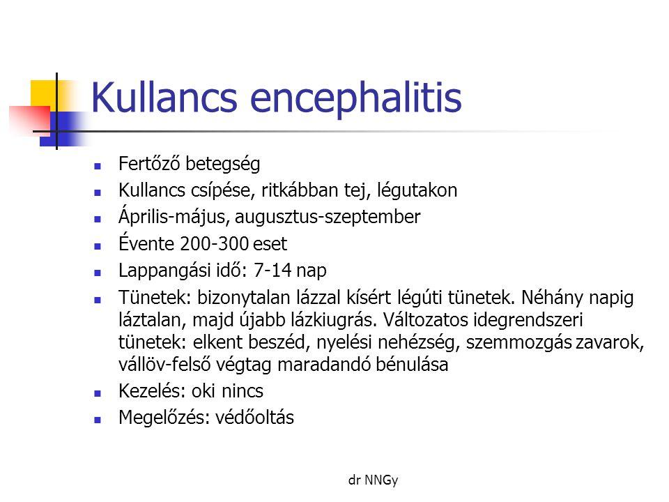 Kullancs encephalitis  Fertőző betegség  Kullancs csípése, ritkábban tej, légutakon  Április-május, augusztus-szeptember  Évente 200-300 eset  Lappangási idő: 7-14 nap  Tünetek: bizonytalan lázzal kísért légúti tünetek.