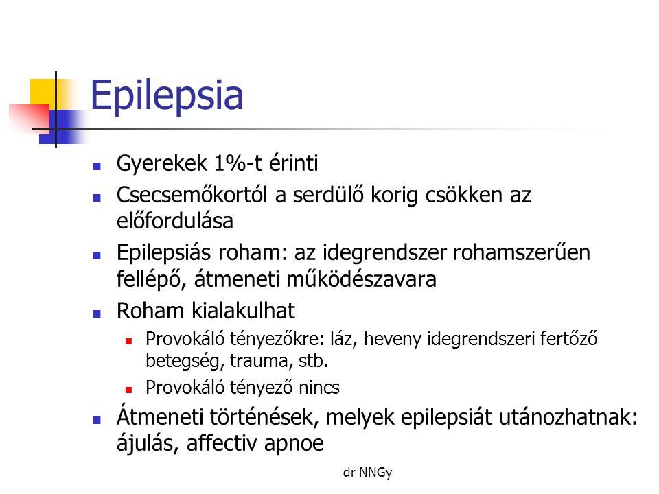 Epilepsia  Gyerekek 1%-t érinti  Csecsemőkortól a serdülő korig csökken az előfordulása  Epilepsiás roham: az idegrendszer rohamszerűen fellépő, átmeneti működészavara  Roham kialakulhat  Provokáló tényezőkre: láz, heveny idegrendszeri fertőző betegség, trauma, stb.