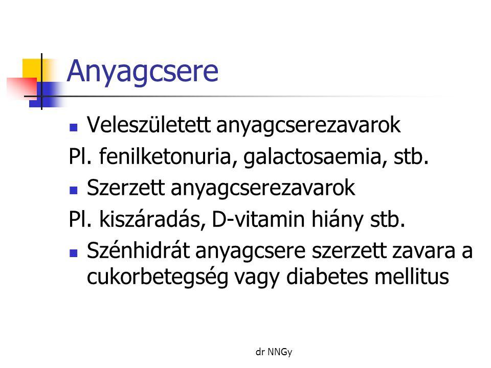 Anyagcsere  Veleszületett anyagcserezavarok Pl. fenilketonuria, galactosaemia, stb.  Szerzett anyagcserezavarok Pl. kiszáradás, D-vitamin hiány stb.