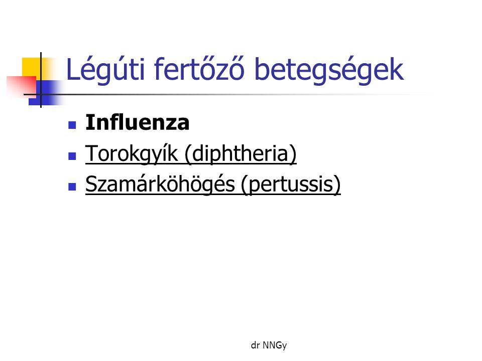 Légúti fertőző betegségek  Influenza  Torokgyík (diphtheria)  Szamárköhögés (pertussis) dr NNGy