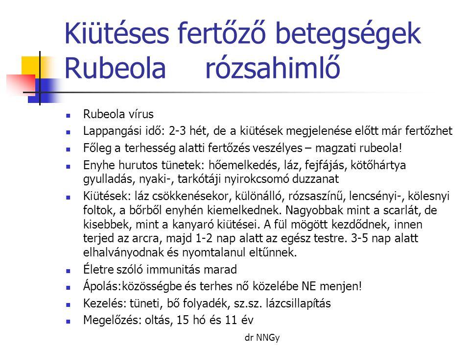 Kiütéses fertőző betegségek Rubeolarózsahimlő  Rubeola vírus  Lappangási idő: 2-3 hét, de a kiütések megjelenése előtt már fertőzhet  Főleg a terhesség alatti fertőzés veszélyes – magzati rubeola.