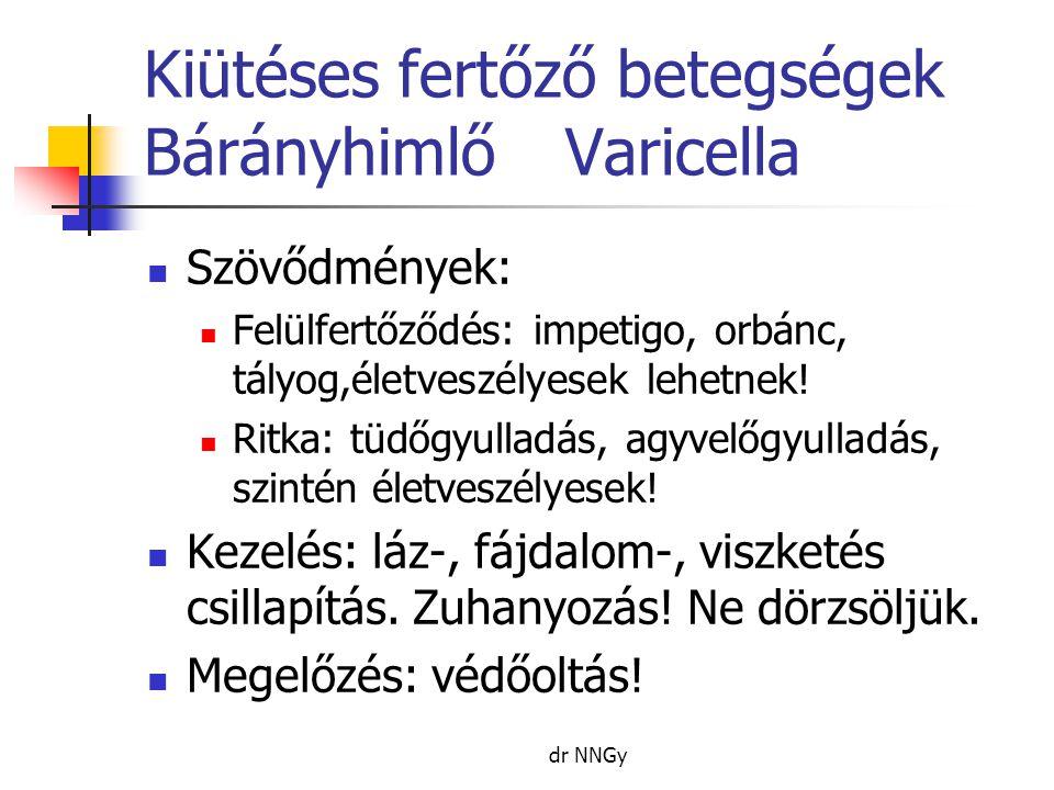 Kiütéses fertőző betegségek BárányhimlőVaricella  Szövődmények:  Felülfertőződés: impetigo, orbánc, tályog,életveszélyesek lehetnek!  Ritka: tüdőgy