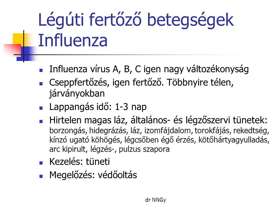 Légúti fertőző betegségek Influenza  Influenza vírus A, B, C igen nagy változékonyság  Cseppfertőzés, igen fertőző. Többnyire télen, járványokban 
