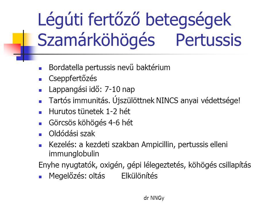 Légúti fertőző betegségek SzamárköhögésPertussis  Bordatella pertussis nevű baktérium  Cseppfertőzés  Lappangási idő: 7-10 nap  Tartós immunitás.