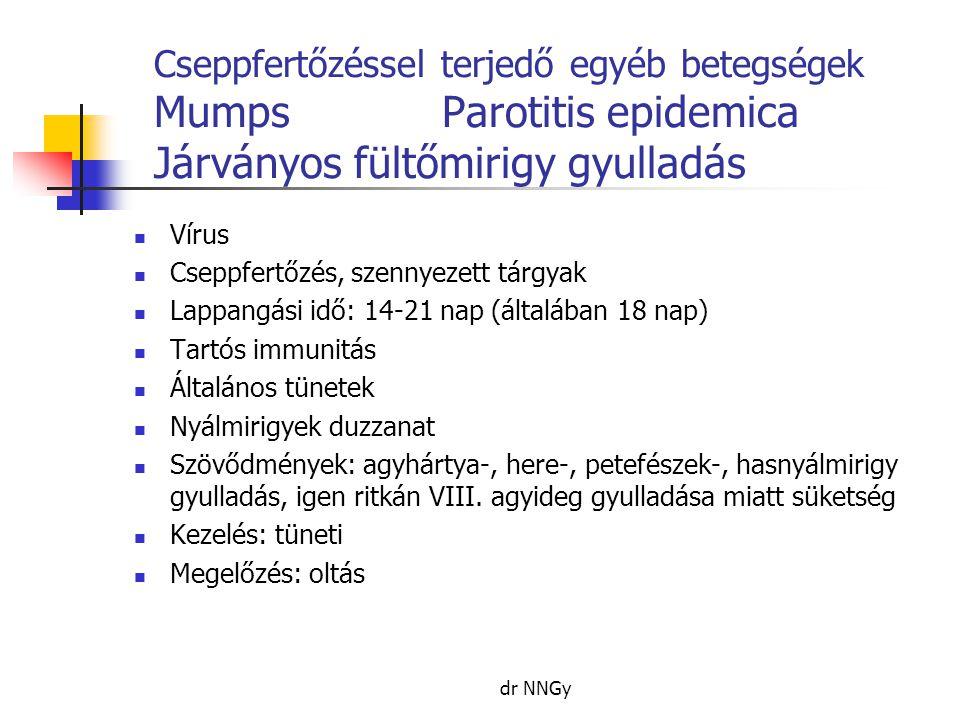 Cseppfertőzéssel terjedő egyéb betegségek MumpsParotitis epidemica Járványos fültőmirigy gyulladás  Vírus  Cseppfertőzés, szennyezett tárgyak  Lappangási idő: 14-21 nap (általában 18 nap)  Tartós immunitás  Általános tünetek  Nyálmirigyek duzzanat  Szövődmények: agyhártya-, here-, petefészek-, hasnyálmirigy gyulladás, igen ritkán VIII.