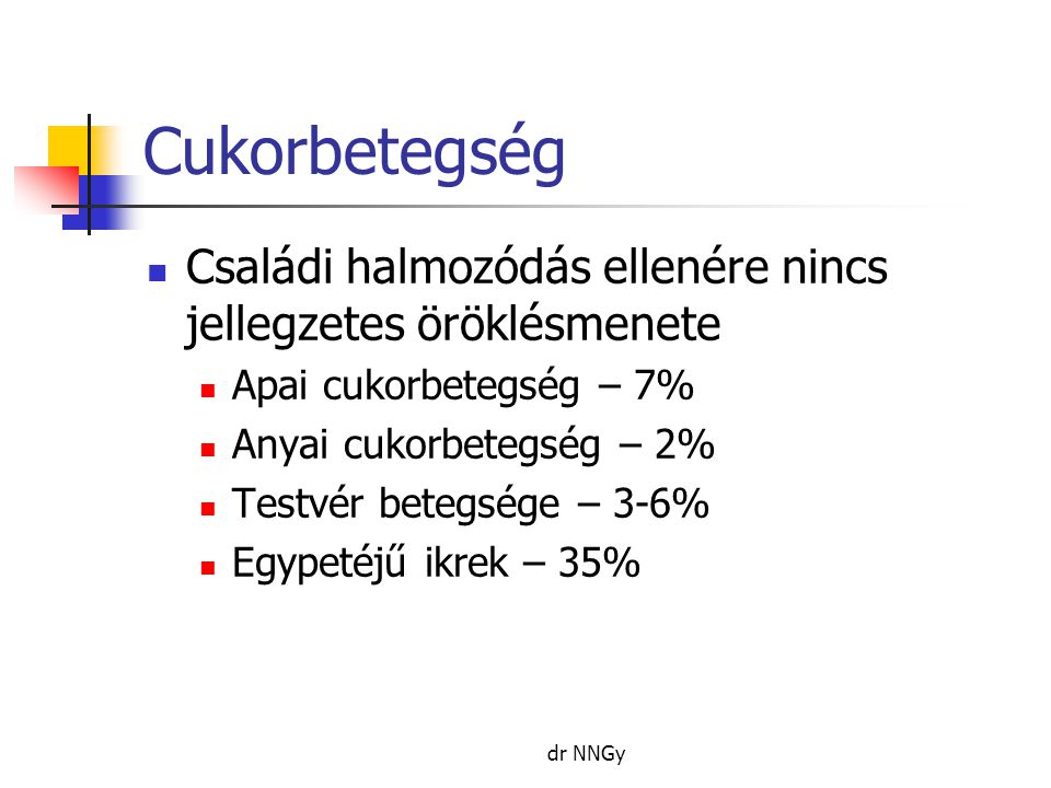Cukorbetegség  Családi halmozódás ellenére nincs jellegzetes öröklésmenete  Apai cukorbetegség – 7%  Anyai cukorbetegség – 2%  Testvér betegsége – 3-6%  Egypetéjű ikrek – 35% dr NNGy